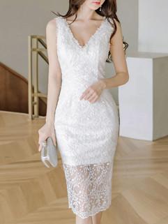 Korean Chic V Neck Jacquard White Dress