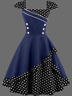 Square Neck Dots Contrast Color Asymmetric Dress