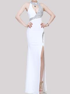 Halter Elegant Evening Noble Solid Patchwork Dresses