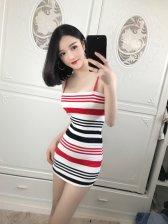 All Match Colorful Stripe Sexy Bodycon Dress
