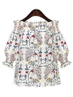 New Look Floral Print Off Shoulder Blouse