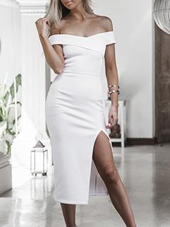 Off Shoulder High Slit Bodycon Dresses