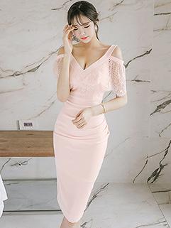 Deep V-Neck Cold Shoulder Hollow Out Wrap Dresses