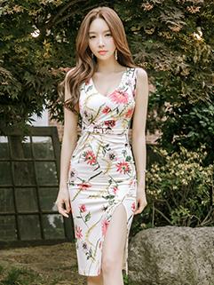 U-Neck Floral Wrap Charming Bifurcation Hem Dresses