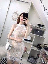 Eyelash Lace Halter Neck Pencil Dress
