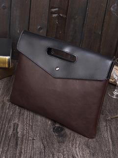 Chic Contrast Color Hasp Men Document Handbags