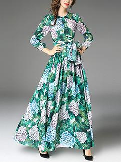 Fashion Botanical Prints Graceful Long Dress