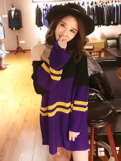 Contrast Color Stripe Pullover Sweater Dress