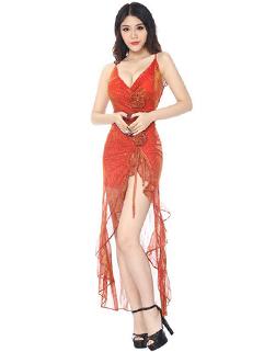 Sexy High Slit Prints Party Dress