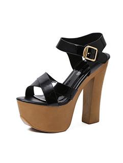 Platform Criss Cross Chunky Super High Heel Sandals