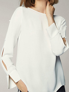 Stylish Crew Neck Solid Hollow Out Sleeve Blouse 3-4 Days Delivery