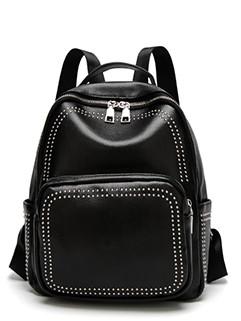 Rivet Zipper Up Simple Backpack