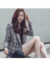 Korean Style Lapel Plaid Women Suit
