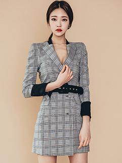 Fashion OL Lapel Double Breasted Waistband Coat