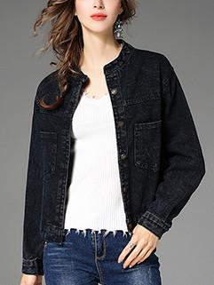 Simple Design Pocket Solid Loose Coat