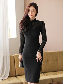 Korean Hollow Out Elegant OL Dress