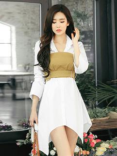 Autumn Long Sleeve Patch Asymmetric Dress