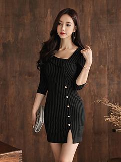 Irregular V Neck Stripe Bodycon Dress