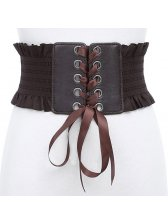 PU Panel Bandage Bow Tie Waistband Woman