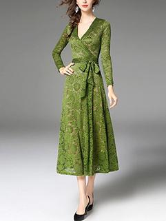 Green Wrap V Neck Lace Party Dress