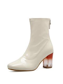 New Crystal Chunky Heel Square Toe Booties