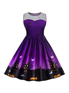 New Gauze Patchwork Printed Sleeveless A-Line Dress
