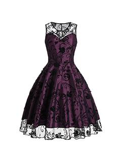 Sexy Lace Patchwork Smart Waist A-Line Dress