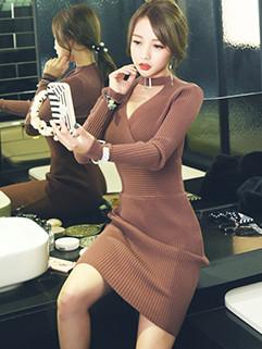 Korean Elegant Choker V Neck Knitting Dress