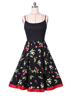 Vintage Floral Patchwork Off-Shoulder Strap Dress
