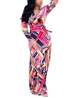 Scrawl Prints Long Sleeve Maxi Dress