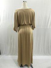 Hot Selling Boat Neck Half Sleeve Maxi Dress