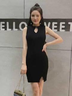 Korean Hollow Out Slim Knit Bodycon Sleeve Dress