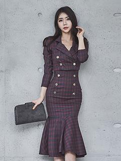 Autumn Slim Plaid Fish Tail Smart Waist 2Pcs Dress
