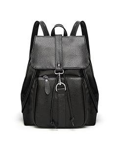 Concise Solid Hasp Preppy Backpack