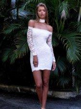 Hot Sale Halter Neck Off Shoulder Lace Dress