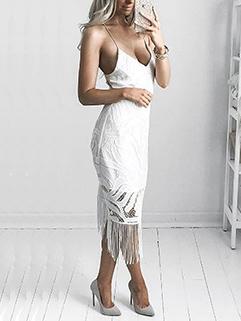 Deep V Neck Tassel Night Club Sexy Dress