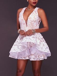 Deep V Sleeveless Lace Bridesmaid Dress