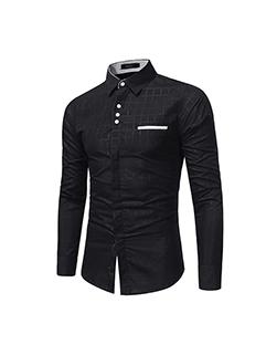 Men Plaid Lapel Simple Design Fitted Shirt