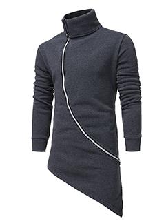 Cheap Online High Neck Asymmetrical Men Hoodies