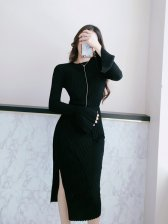 Newly Flare Sleeve Top With Split Wrap Skirt Women Suit