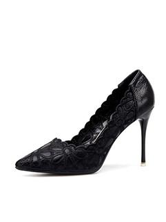 Elegant Flower Embroidered Pointed Toe High Heels