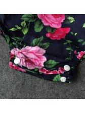 Long Sleeve Floral Printing Girls Onesie