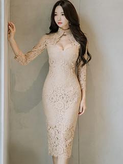 OL Keyhole Long Sleeve Sexy Lace Dress