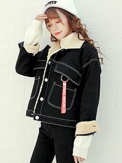 Korean Loose Lapel Patchwork Pocket Coat