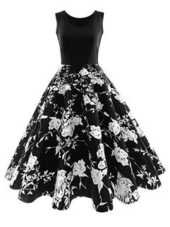 Sleeveless Floral Prints Vintage A Line Dress
