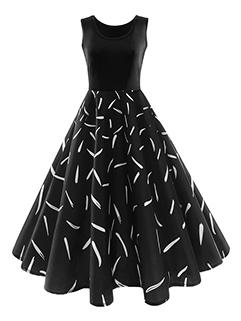 Feather Prints Sleeveless A-line Vintage Dresses