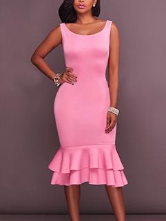 Scoop Neck Women Solid Color Flouncing Dress