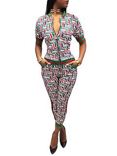 Cheap Printing Zipper Casual Women Suits