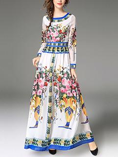 Ethnic Flower Long Sleeve Fashion Party Dress