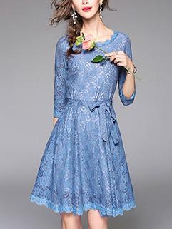 Fashion O Neck 3/4 Sleeve Blue Lace Dress
